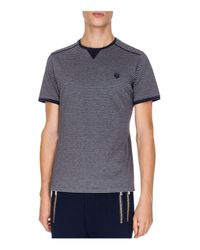 The Kooples - Blue Jersey And Stripes Tee for Men - Lyst