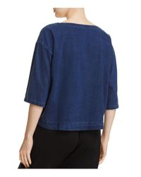 Eileen Fisher - Blue Boat Neck Denim Top - Lyst