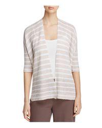 Eileen Fisher | Natural Elbow-sleeve Organic Linen Cardigan | Lyst