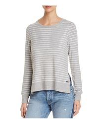 Marc New York - Gray Performance Striped High/low Sweatshirt - Lyst