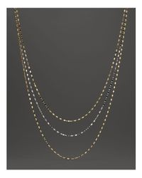 Lana Jewelry | Metallic 14k Yellow & White Gold Small Sienna Multi-row Necklace, 16"