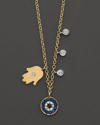 Meira T | Metallic Diamond Hamsa And Evil Eye Necklace Set In 14k Yellow Gold, 16"