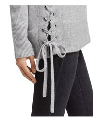 Aqua - Gray Cashmere Side Lace-up Sweater - Lyst