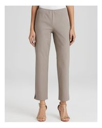 Eileen Fisher | Gray Organic Stretch Cotton Twill Slim Ankle Pants | Lyst