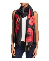 Kate Spade   Red Poppy Silk Oblong Scarf   Lyst