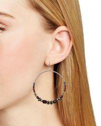 Chan Luu Metallic Beaded Stone Frontal Hoop Earrings In Gunmetal - Tone Plated Sterling Silver