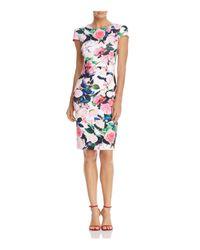 Betsey Johnson | White Floral-print Scuba Sheath Dress | Lyst