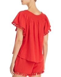 Aqua - Red Tassel-trimmed Butterfly-sleeve Top - Lyst