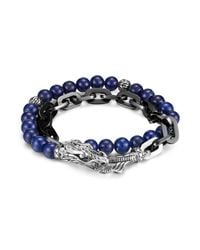John Hardy - Blue Men's Naga Silver Double Wrap Stainless Steel Link Bracelet With Lapis Lazuli for Men - Lyst