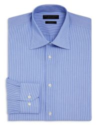Bloomingdale's - Blue Dobby Stripe Slim Fit Dress Shirt for Men - Lyst