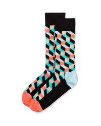 Happy Socks - Green Men's Filled Optic Cube Socks for Men - Lyst
