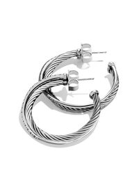 David Yurman   Metallic Crossover Medium Hoop Earrings With Diamonds   Lyst