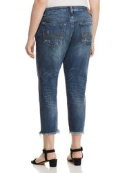 Lucky Brand Blue Reese Cropped Boyfriend Jeans In Beach Drive