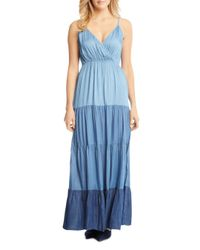 Karen Kane - Blue Tiered Ombré Chambray Maxi Dress - Lyst