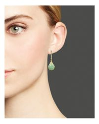 Meira T - Green 14k Yellow Gold Amazonite Drop Earrings With Diamonds - Lyst