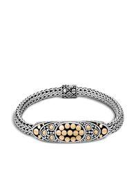John Hardy | Metallic Sterling Silver And 18k Bonded Gold Dot Deco Oval Station Bracelet | Lyst