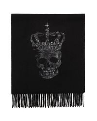 John Varvatos | Black Punched Skull Wool Scarf for Men | Lyst