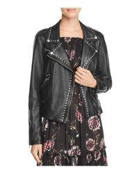 Free People | Black Studded Vegan Faux-leather Moto Jacket | Lyst