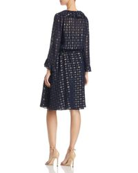 Tory Burch - Blue Jasmine Metallic Ruffle Dress - Lyst