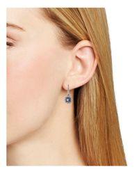 Nadri - Metallic Framed Round Leverback Earrings - Lyst