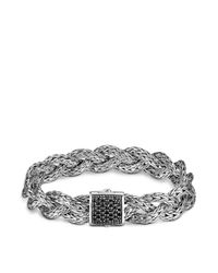 John Hardy | Metallic Classic Chain Silver Small Braided Bracelet With Black Sapphire | Lyst