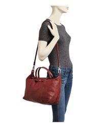 Longchamp - Red Le Pliage Medium Leather Satchel - Lyst