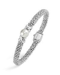 Lagos | Metallic Luna Sterling Silver Caviar Bracelet With Pearl | Lyst