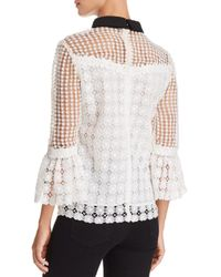 Aqua - White Contrast Collar Lace Top - Lyst