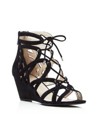 Kenneth Cole   Black Dylan Caged Lace Up Wedge Sandals   Lyst