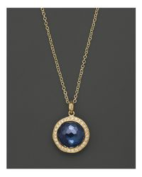 Ippolita | Metallic 18k Gold Mini Lollipop Pendant Necklace In London Blue Topaz With Diamonds, 16"