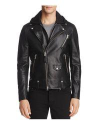 Mackage - Black Magnus Hooded Leather Motorcycle Jacket for Men - Lyst