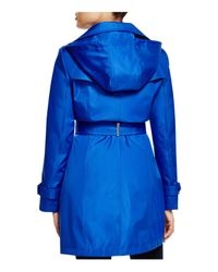Calvin Klein | Blue Hooded Belted Trench Coat | Lyst