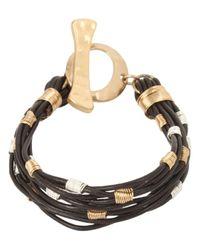 Robert Lee Morris - Metallic Two-tone Wire Wrap Leather Toggle Bracelet - Lyst