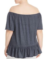 Lucky Brand - Blue Off-the-shoulder Top - Lyst