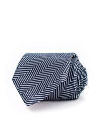 Thomas Pink Blue Millais Herringbone Woven Classic Tie for men