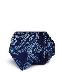 HUGO - Blue Exploded Paisley Silk Skinny Tie for Men - Lyst
