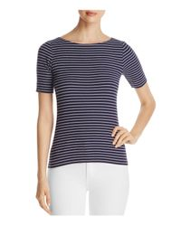 Lilla P - Blue Striped Ribbed Tee - Lyst