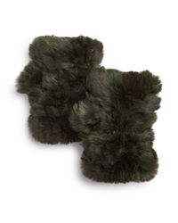 Jocelyn - Green Knit Rabbit Fur Fingerless Gloves - Lyst