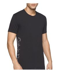 Calvin Klein - Black Side Logo Lounge Tee for Men - Lyst
