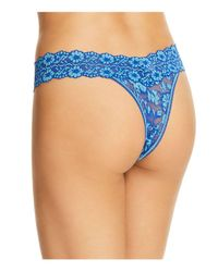 Hanky Panky - Blue Cross-dyed Signature Lace Original-rise Thong - Lyst