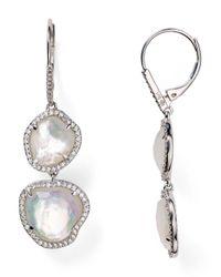 Nadri - Metallic Sterling Silver & Mother Of Pearl Double Drop Earrings - Lyst