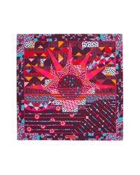 Ferragamo - Pink Ferragamo Oz Printed Silk Square Scarf - Lyst