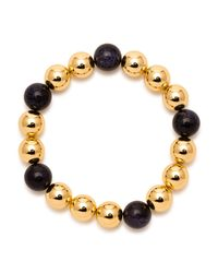 Gorjana - Metallic 18k Yellow Gold Plated Newport Blue Sandstone Beaded Expandable Bracelet - Lyst