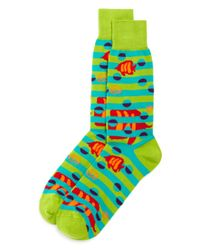 Bloomingdale's - Green Fish Socks for Men - Lyst
