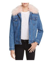 Aqua - Blue Faux Fur-collar Denim Jacket - Lyst