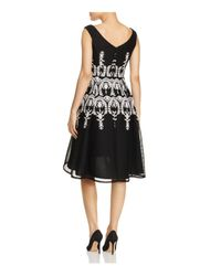 Adrianna Papell - Black Embroidered Sleeveless Dress - Lyst