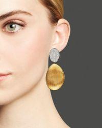 Marco Bicego - Metallic Diamond Lunaria Two Drop Large Earrings In 18k Gold - Lyst