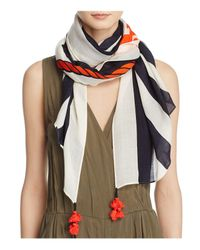 Tory Burch - Multicolor Oversized Nautical Logo Oblong Scarf - Lyst