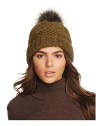 Inverni - Green Slouchy Beanie With Coyote Fur Pom-pom - Lyst