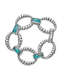 Lagos | Metallic Sterling Silver Maya Escape Chrysocolla Doublet Fluted Oval Link Bracelet | Lyst